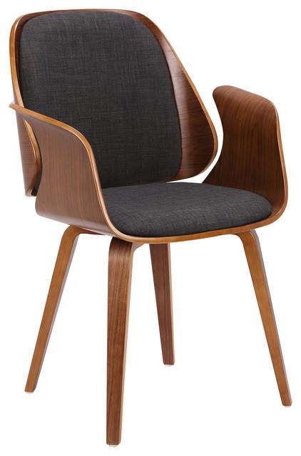 Sumas Mid-Century Dinning Chair, Charcoal Fabric, Walnut Veneer.