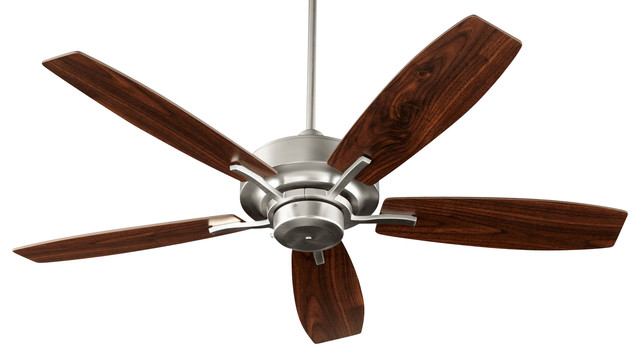 Soho 52 Transitional Ceiling Fan With Walnut Blades, Satin Nickel.