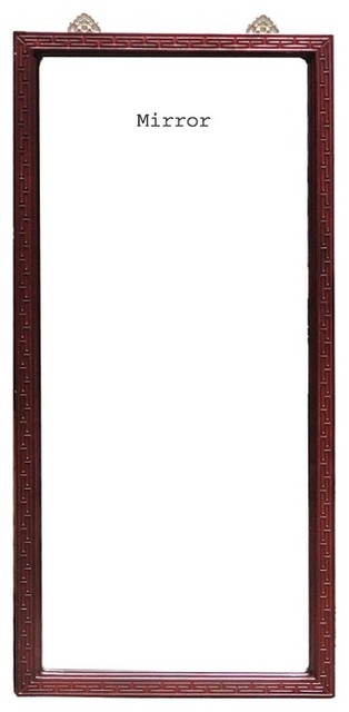 Chinese Red Wood Carving Frame Tall Floor Mirror - Asian - Floor ...