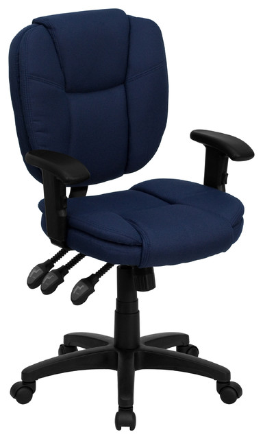 MFO Mid-Back Navy Blue Fabric Multi-Functional Ergonomic Task Chair with Arms