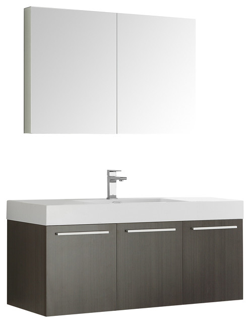Fresca Vista 48 Gray Oak Wall Hung Modern Bathroom Vanity With Medicine Cabinet