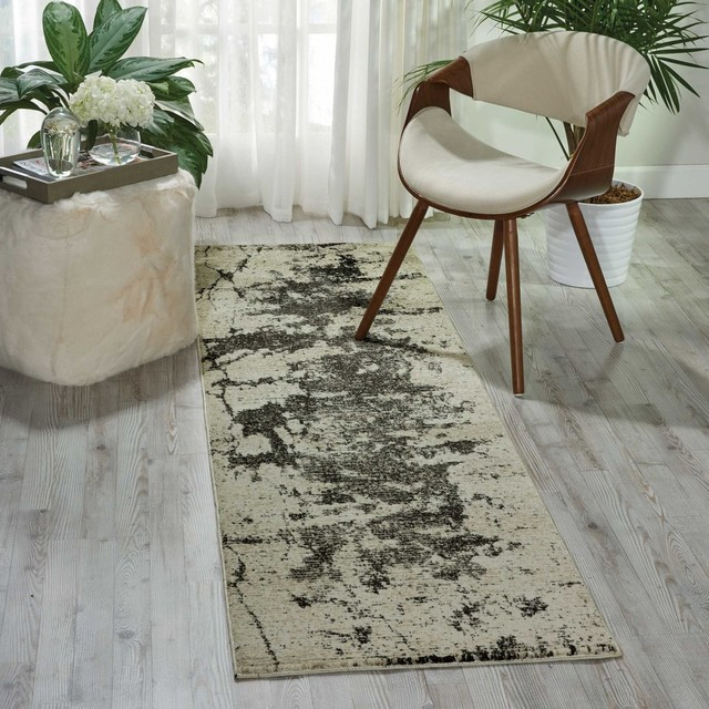Nourison Maxell Ivory And Gray Area Rug, 2&x27;2x7&x27;6 Runner.