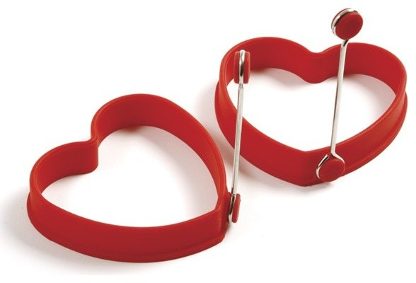 Norpro Silicone Pancake And Egg Rings Heart, Set Of 2.