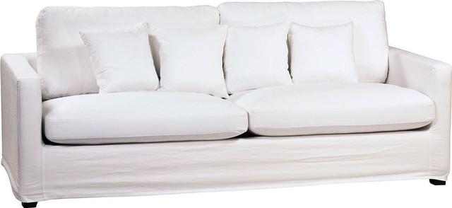Sofa DOVETAIL HOPKINS White Black Linen