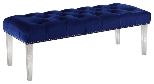 Suede Upholstered Tufted Bench With Acrylic Legs, Navy Blue. -1