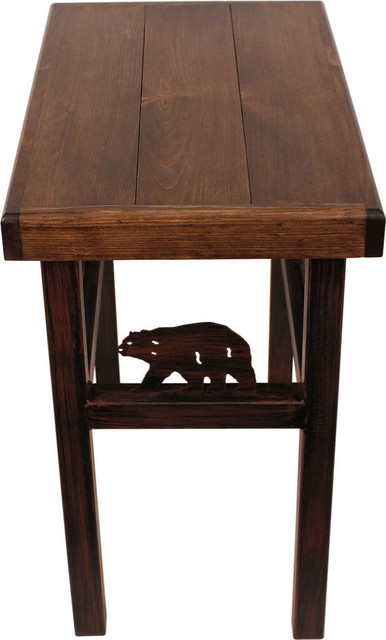 Rustic Cherry Rectangular Table Formal Dining Room Set: Rectangular End Table With Bear/Feather Tree Accent