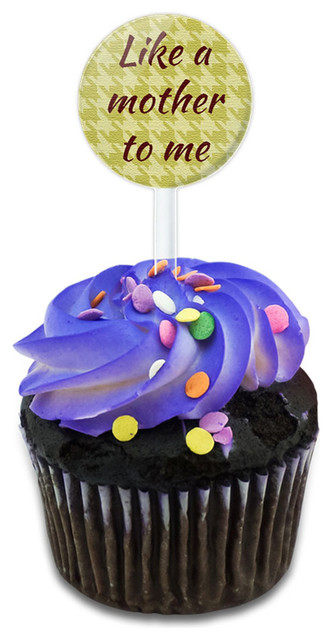 Like A Mother To Me On A Houndstooth Pattern Cupcake Toppers Picks Set.