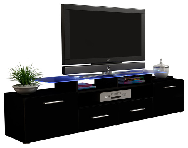 on sale cd673 5b372 Vegas TV Stand With Matte Body, High Gloss Doors, 16 Colors LED Lights,  Black