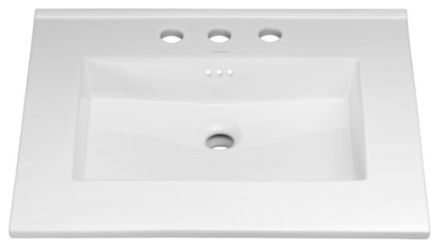 Ronbow Essentials Larisa 24 Sink Top With 8 Widespread Faucet Hole, White.