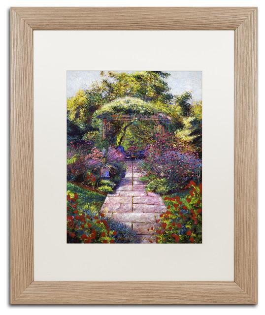 """Glover 'Two Blue Garden Chairs' Art, Birch Frame, 16""""x20"""", White Matte"""