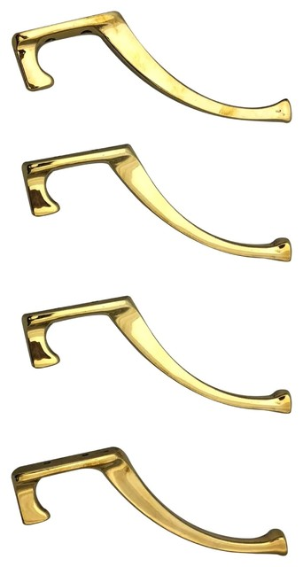 "Bright Brass Hooks, Arts And Crafts Hook, Set Of 4, Q351, Hooks 5.5""h"