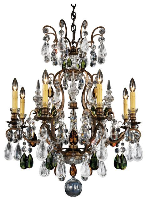 Renaissance Rock Crystal 9-Light Chandelier in Heirloom Bronze