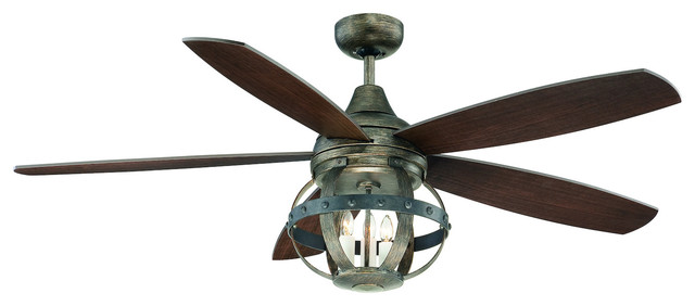 3-Light Reclaimed Wood Ceiling Fan.