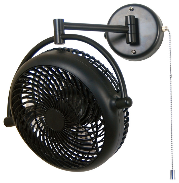 Vivi 8 In Black Wall Mount Swivel Fan With Folding Arm U 00011 Contemporary Electric Fans By Pan Air Electric Co Ltd