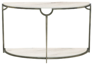 Laci Regency Carrera Nickel Half Moon Console Table