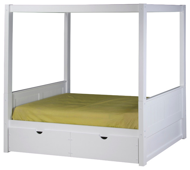 Contemporary Canopy Beds camaflexi twin canopy bed with drawers, panel headboard, white