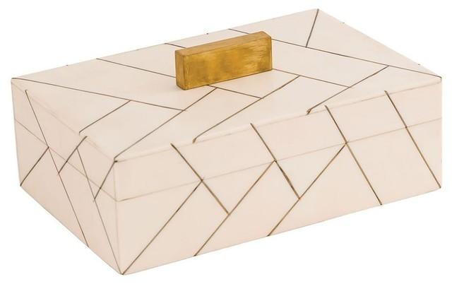 Dimond Houblon Box, Off White and Gold