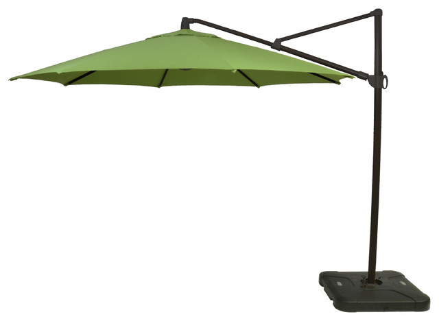 11&x27; Offset Outdoor Umbrella With Black Pole, Green.