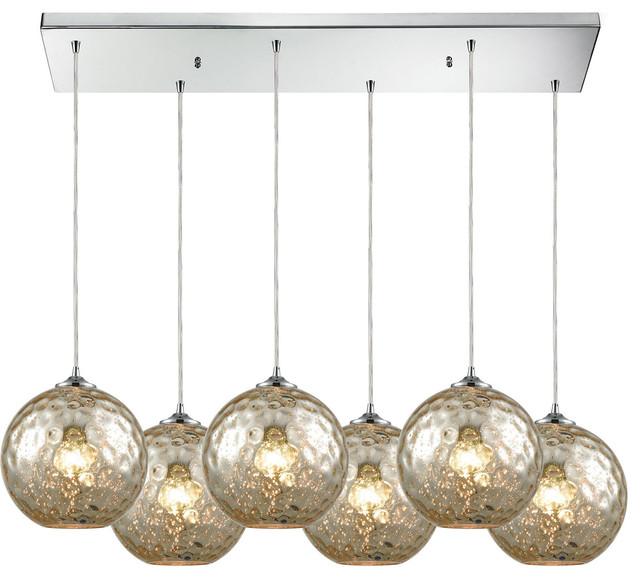 "Hgtv Home Cassandra Blown Glass Mini Pendant Modern: Elk Lighting Watersphere 30"" 6-Light Aqua"