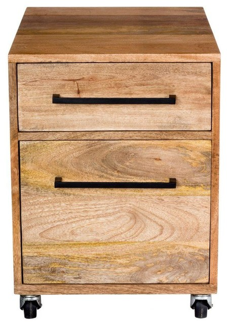 Solid Mango Wood Two Drawer Mobile File