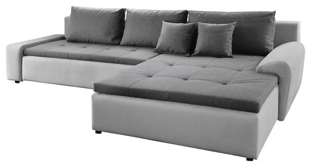 EQsalon LOCO Modern Contemporary Reversible L-Shaped Gray Sectional Corner  120\