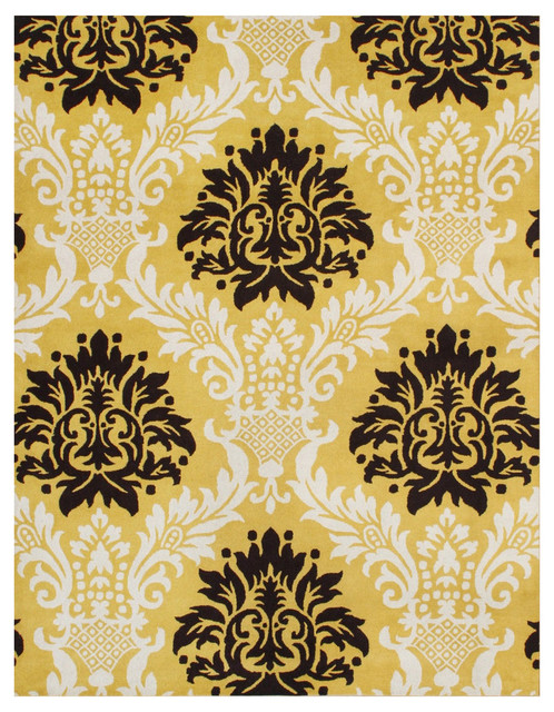 Willa Contemporary Rug, Black and York Yellow, 5'x8' by Alliyah Rugs, Inc.