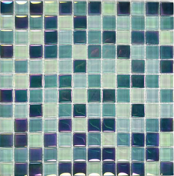"""12""""x12"""" Glass Tile Blends Crystal Iridescent Series, Sea Green Blend"""