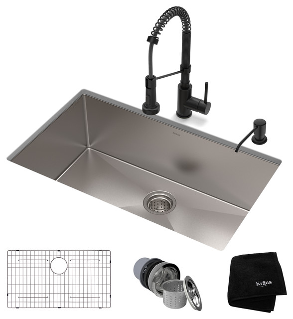 """32"""" Stainless Steel Kitchen Sink and Kitchen Faucet, Matte Black"""