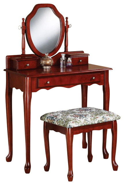 Traditional Cherry Vanity Set Swivel Mirror Make Up Table Dresser Fabric Seat Traditional