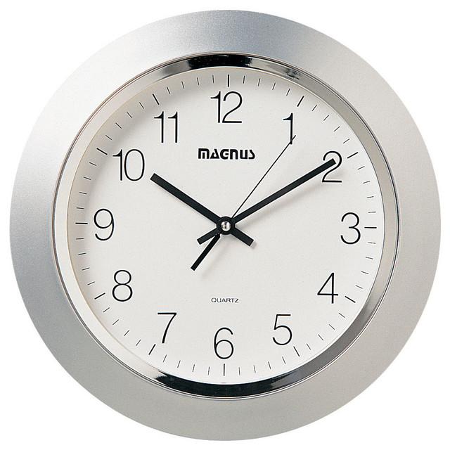 Daniel Clock Silver Contemporary Wall Clocks by Dainolite Ltd
