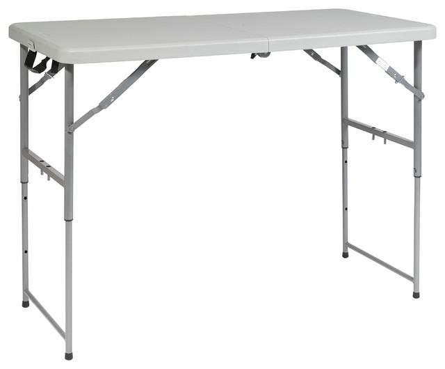 4u0027 Height Adjustable Fold In Half Resin Multi Purpose Table