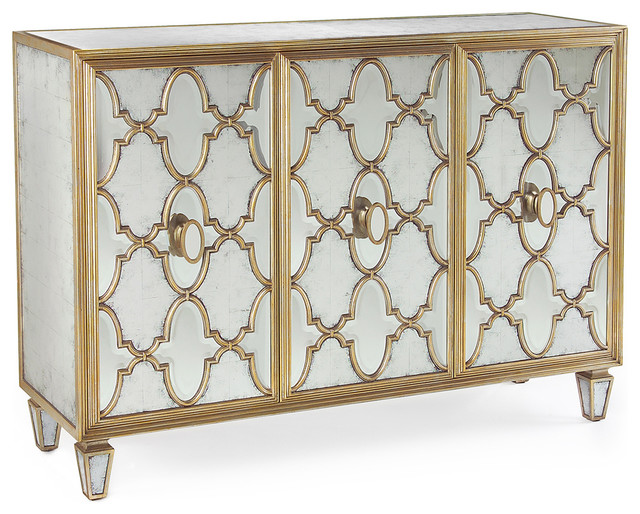 Babette Hollywood Regency Silver Leaf Mirrored Gold Lattice Sideboard  transitional-buffets-and-sideboards - Babette Hollywood Regency Silver Leaf Mirrored Gold Lattice