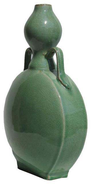 Chinese Ceramic Gourd Shape Crackle Pattern Celadon Green