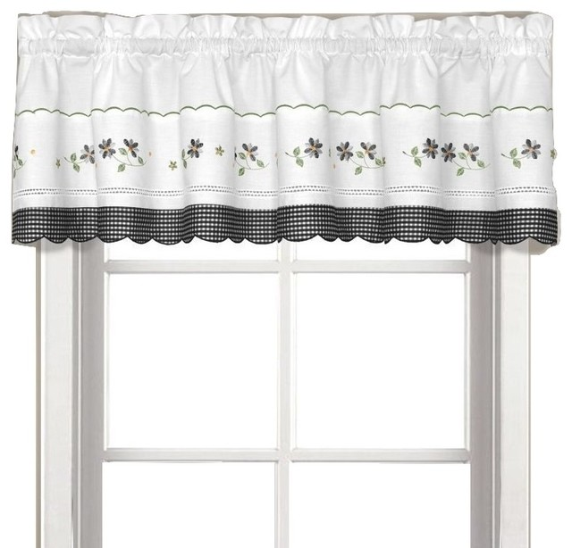 Gingham black floral Kitchen Curtain, Valance