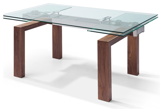 Davy Extendable Dining Table 1 2 Gl Top Solid Wood With Walnut Veneer Base