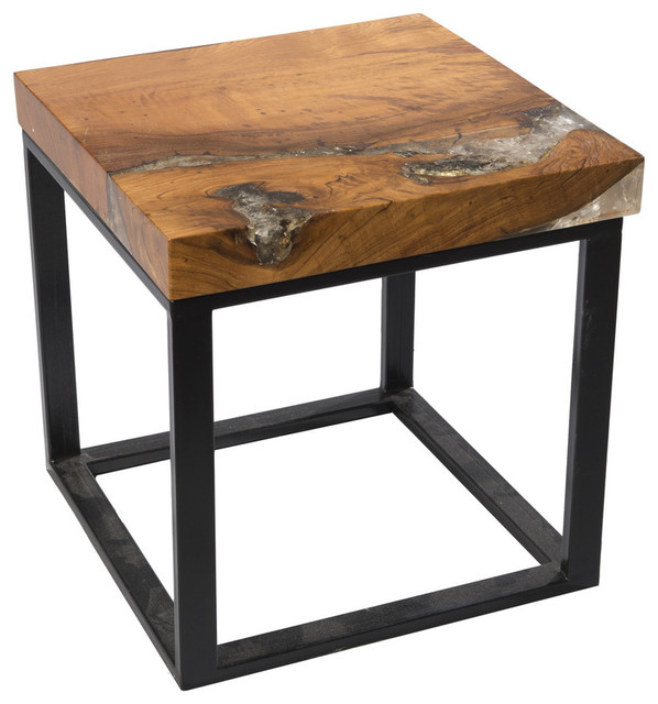 Beautiful Square Cracked Resin Side Table