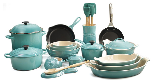 Le Creuset 26 Piece Complete Kitchen Cook And Bakeware Set, Caribbean  Traditional Cookware