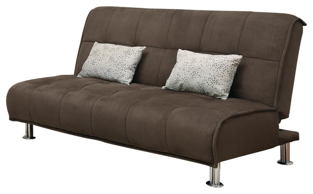 Brown Microfiber Comfort Armless Sofa Bed Futon Couch Sleeper With Pillows