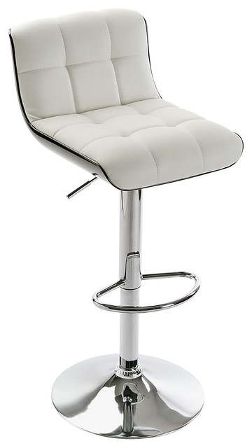 Brighton Adjustable Bar Stool, White With Black Trim