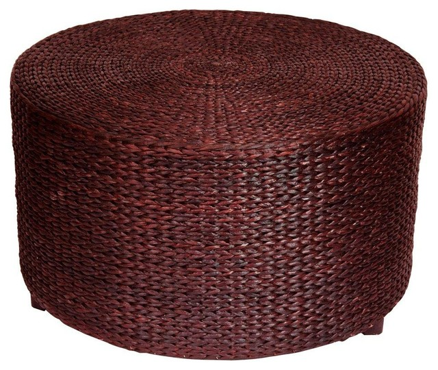 Abundant Woven Rush Grass Coffee Table Ottoman Black Brown Contemporary Footstools And