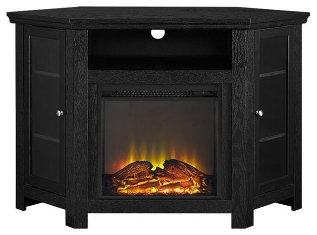 we furniture 48 wood corner fireplace media tv stand console transitional entertainment. Black Bedroom Furniture Sets. Home Design Ideas