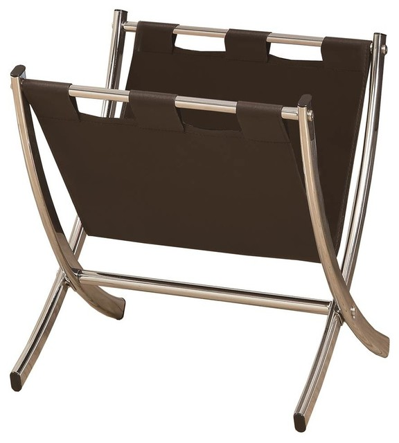 Magazine Rack in Brown and Chrome