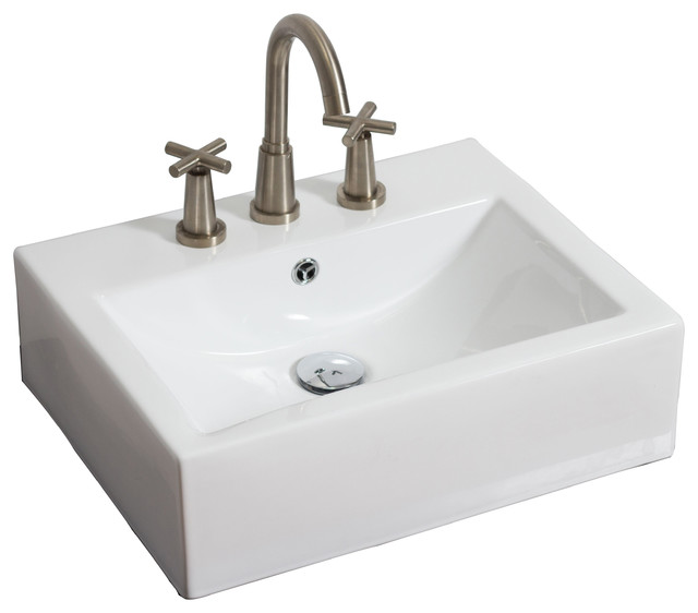 """Wall Mount Rectangle Vessel, White For 8"""" O.c. Faucet, 20.5""""x16""""."""