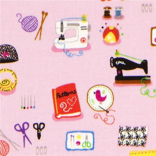 pink designer fabric with sewing machine knittings scissors