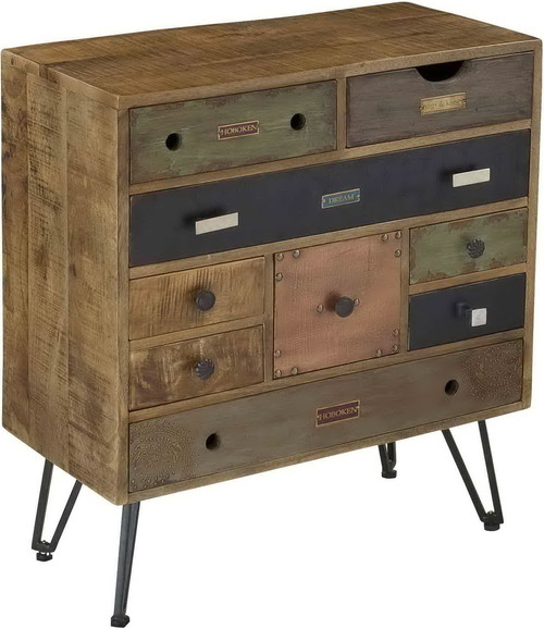 Brisbane Nine Drawer Chest H32.00, Multicolored