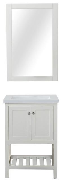 "Vineland 24"" Single Bathroom Vanity, White With Porcelain Top."