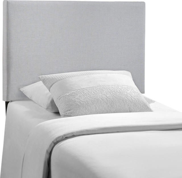 Modern Contemporary Twin Size Upholstered Headboard Gray Fabric