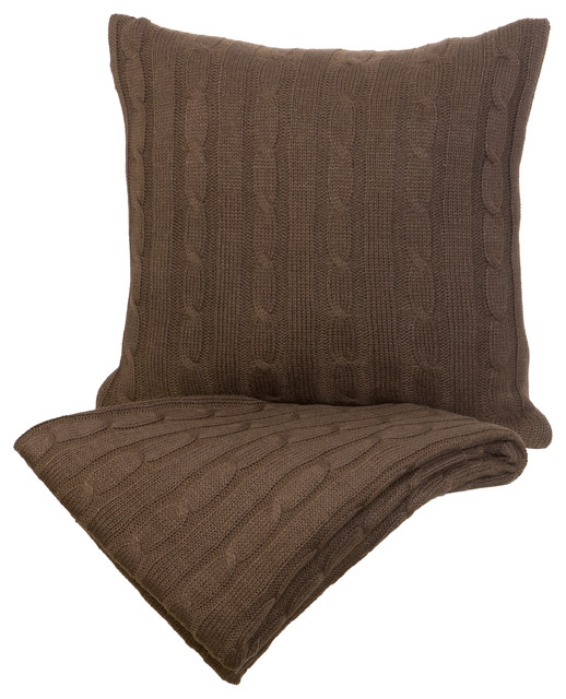 Modern Pillow And Throws : Indecor - Cable Knit Throw and Decorative Pillow Set, Chocolate Brown & Reviews Houzz