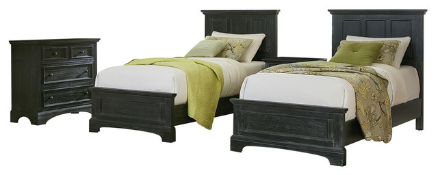 Farmhouse Basics Twin Bedroom Set With Nightstands and Chest, Rustic Black