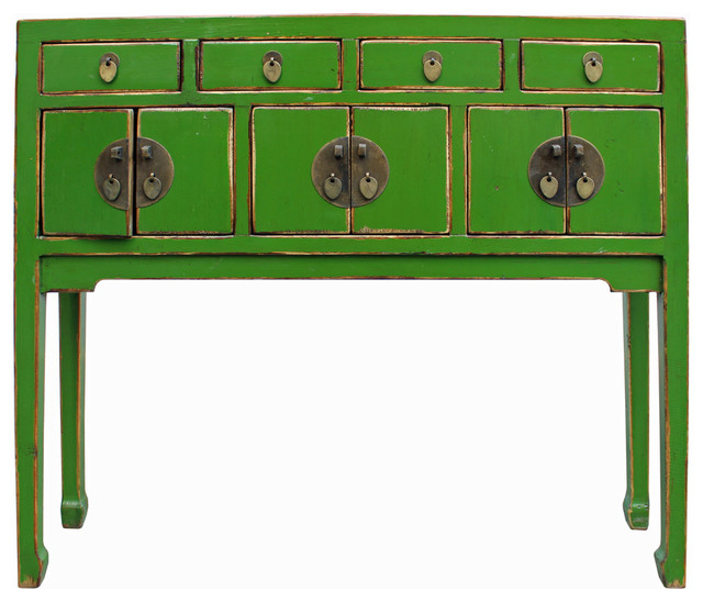 Distressed Foyer Console Table : Chinese distressed green narrow slim foyer side table
